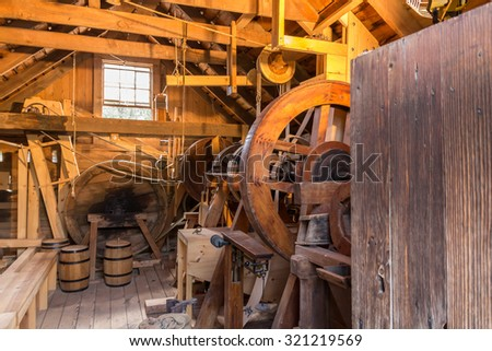 Inside grist mill - stock photo