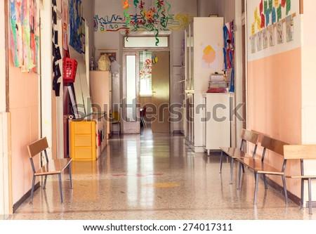 inside hallway to a nursery kindergarten without children - stock photo