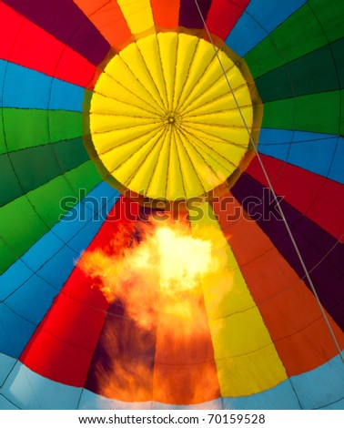 inside Hot air balloon with burning flame - stock photo