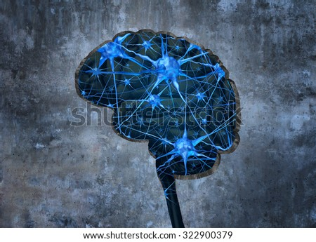 Inside human neurology research concept examining the mind of  human memory loss or cells due to dementia and other neurological diseases as a hole shaped as a brain in a cement wall with neurons. - stock photo