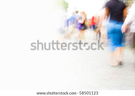 Inside hurrying crowd of people. Abstract picture with empty copyspace. - stock photo