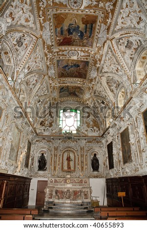 Inside image of a Italian classic church - stock photo
