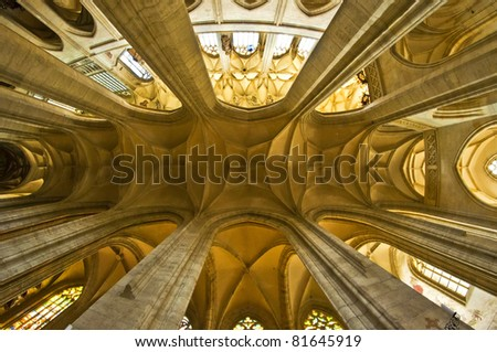 inside in historic cathedral - stock photo