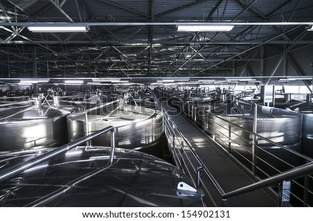 Inside modern wine factory - stock photo
