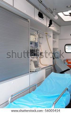 Inside of a ambulance. - stock photo