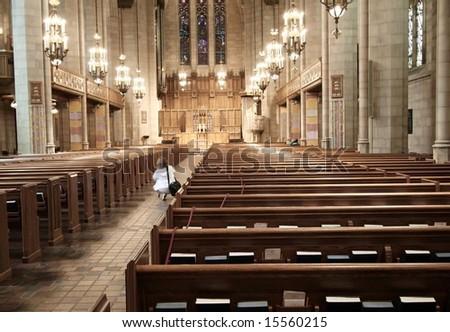Inside of a beautiful church - stock photo