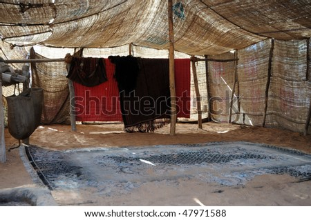 Inside of a bedouin tent, United Arab Emirates - stock photo