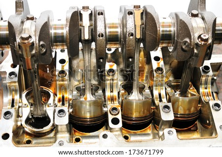 Inside of a car engine. - stock photo