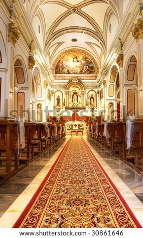 Inside of a Church Before a Wedding - stock photo
