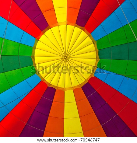 inside of a colorful hot air balloon - stock photo