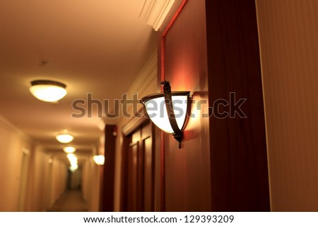 Inside of a hotel in the evening - stock photo