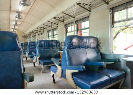Inside of a last century old train passenger carriage