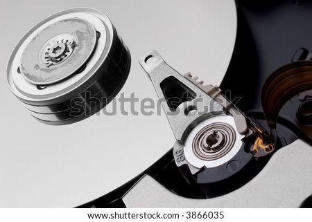 inside of a modern hard disc drive