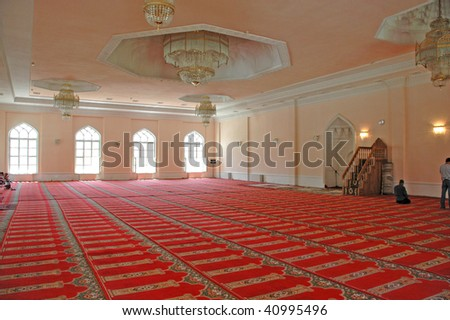 Inside of a mosque - stock photo