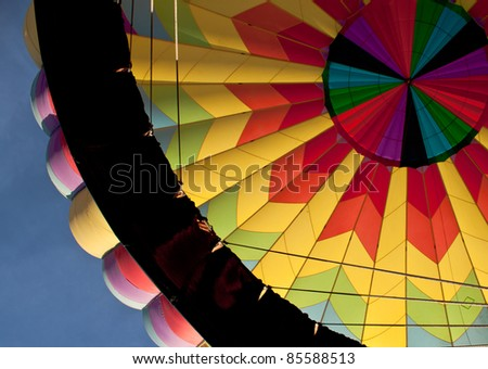 inside of a multiple color hot air balloon - stock photo