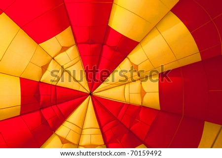 inside of a Yellow and red Hot air balloon