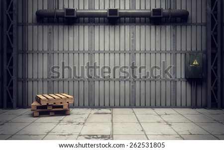 inside of an old empty warehouse. 3D rendering  - stock photo