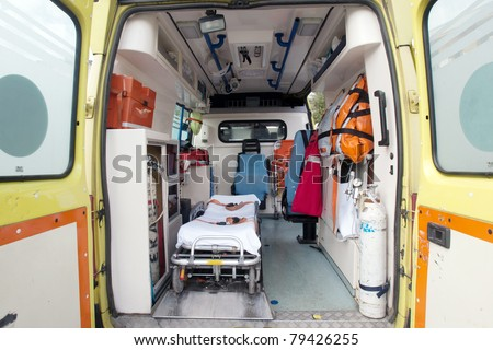 inside of an very used greek ambulance - stock photo