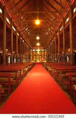Inside of biggest wood church in Thailand