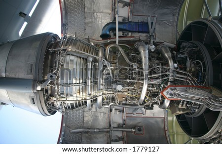 Inside of C-17 Military Aircraft Engine - stock photo