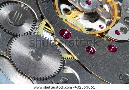 Inside of clock, grey and yellow details - stock photo