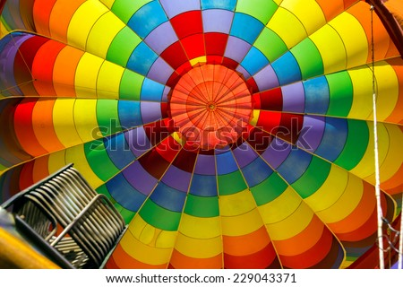 Inside of colorful hot air balloon  - stock photo