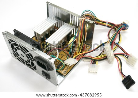 Inside of computer power supply - stock photo