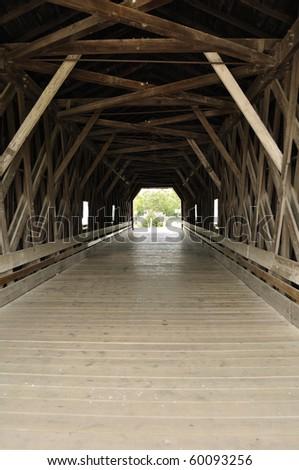 Inside of Covered Bridge over Zumbro River in Zumbrota, Minnesota - stock photo
