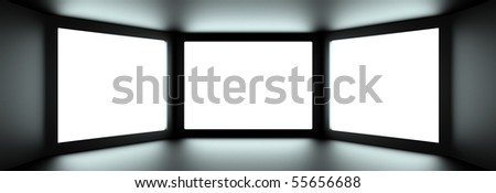 Inside of dark digital room - stock photo