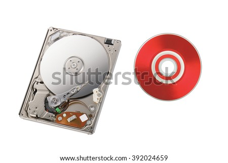 Inside of disk reader and red disk, isolated on white background.  - stock photo
