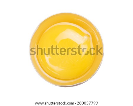 inside of egg with yolk visible,isolated on white background - stock photo