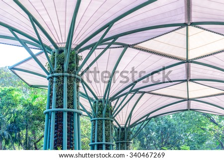 Inside Of Fabric Roof Structure Stadium With Plant In Metal Structure.