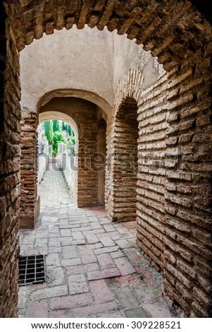 Inside of Gibralfaro fortress (Alcazaba de Malaga). Malaga city. Spain  - stock photo