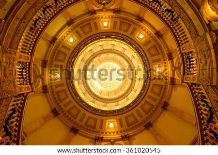 Inside of Gold Dome - A low-angle view of inside of gold dome of Colorado State Capitol Building. Denver, Colorado, USA. - stock photo