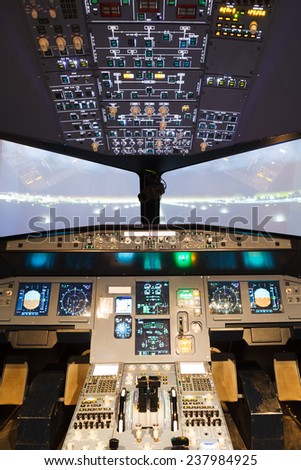 inside of homemade flight simulator cockpit - stock photo