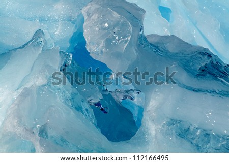 Inside of iceberg, Antarctica - stock photo