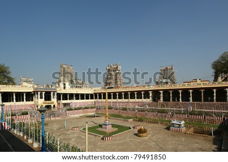 Inside of Meenakshi hindu temple in Madurai, Tamil Nadu, South India.  It is a twin temple, one of which is dedicated to Meenakshi, and the other to Lord Sundareswarar - stock photo