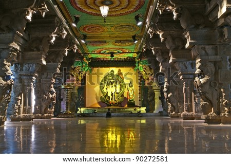 Inside of Meenakshi hindu temple in Madurai, Tamil Nadu, South India. Religious hall of thousands of columns - stock photo