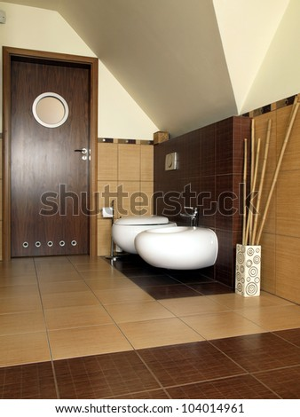 Inside of modern and luxury bathroom, vertical - stock photo