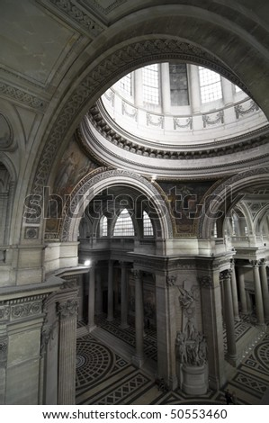 Inside of Pantheon in Paris - stock photo