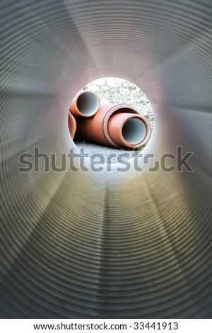 Inside of plumbing tube - stock photo