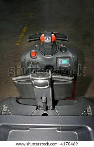 Inside of small fork lifter and carrier - stock photo