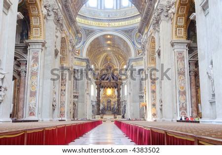 Inside of St. Peter's Basilica, Vatican city - stock photo