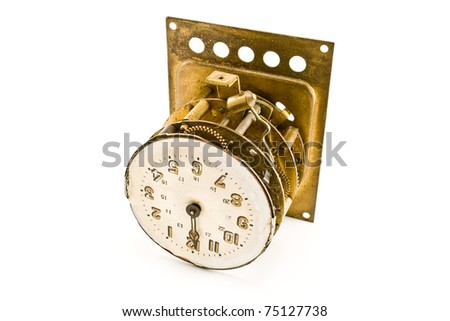 Inside of the antique vintage clock - mechanism - isolated on white - stock photo