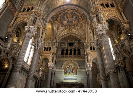 Inside of the Basilica of Notre-Dame de Fourviere in Lyon, France - stock photo