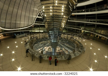 Inside of the Cupola at Night, Berlin, the Reichstag Building, Germany - stock photo