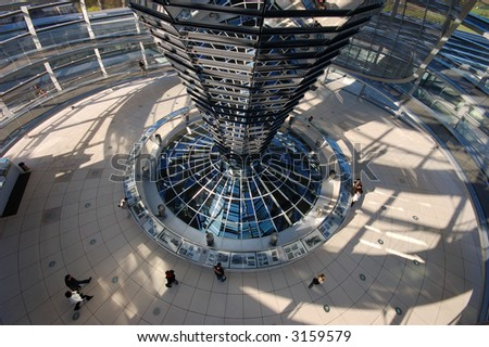 Inside of the Cupola on the top of Reichstag Building in Berlin, Germany - stock photo