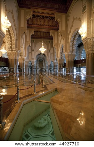 Inside of the Hassan II Mosque in Casablanca - stock photo