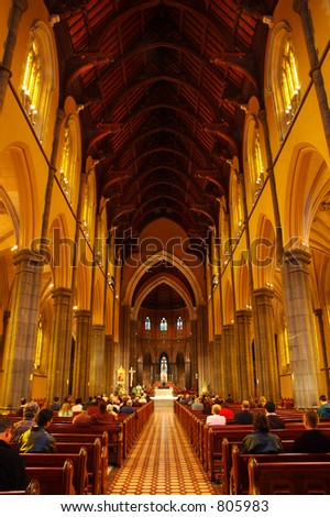 Inside of the St.Patricks Cathedral on Sunday morning - stock photo
