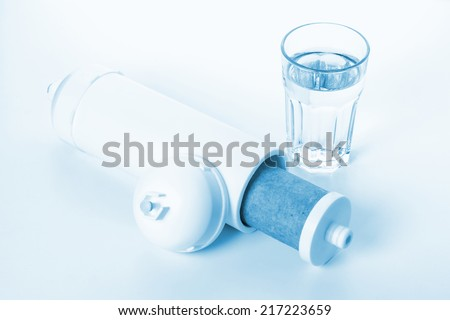 inside of white cartridge for water filtration - stock photo